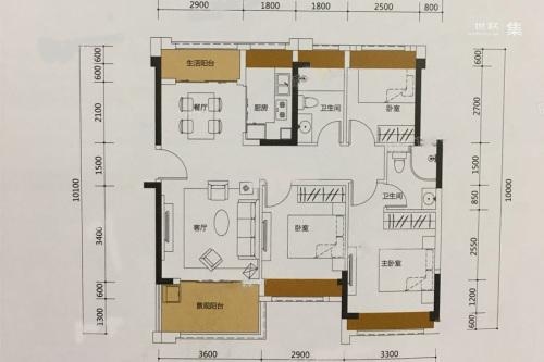泰丰牧马湖B1户型-3室2厅2卫1厨建筑面积96.00平米
