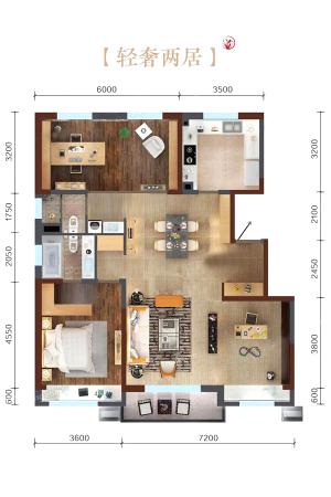 万科繁荣里轻奢两居B户型图-2室2厅2卫1厨建筑面积135.00平米