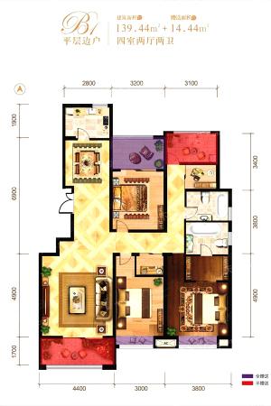 龙记玖玺26#平层边户-4室2厅2卫1厨建筑面积139.44平米