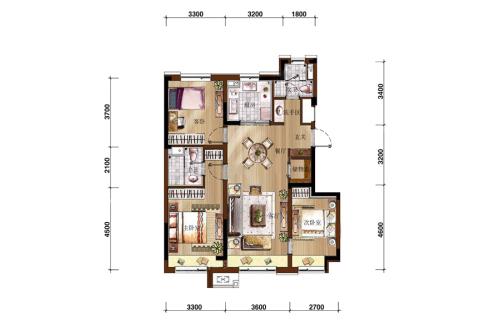万科如园二期小高105平户型图-3室2厅2卫1厨建筑面积105.00平米
