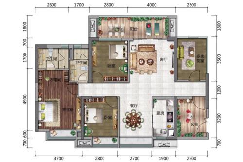 博达外滩A户型-3室2厅2卫1厨建筑面积117.00平米