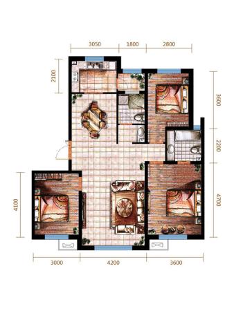远洋戛纳小镇三期小高C1户型-3室2厅2卫1厨建筑面积123.00平米