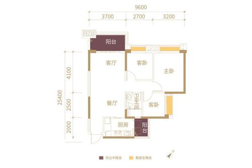 港航华庭C户型-C户型-3室2厅1卫1厨建筑面积90.00平米