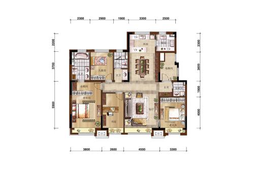 万科如园160平无限系4房户型-4室2厅2卫1厨建筑面积160.00平米