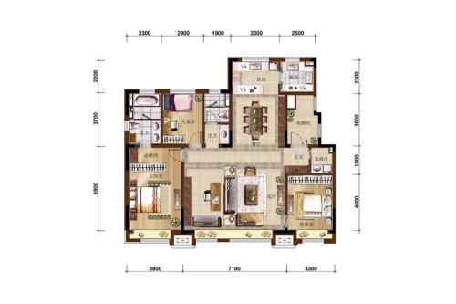 万科如园160平无限系3房户型-3室2厅2卫1厨建筑面积160.00平米