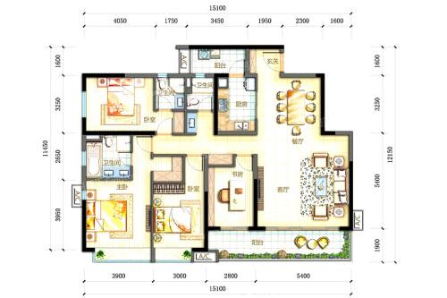 万科柏悦湾16-19栋02户型-4室2厅3卫1厨建筑面积170.00平米