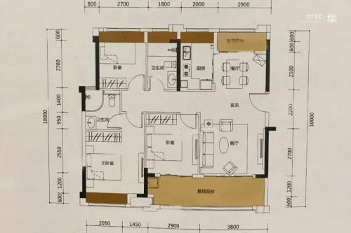 泰丰牧马湖A6户型-3室2厅2卫1厨建筑面积102.00平米