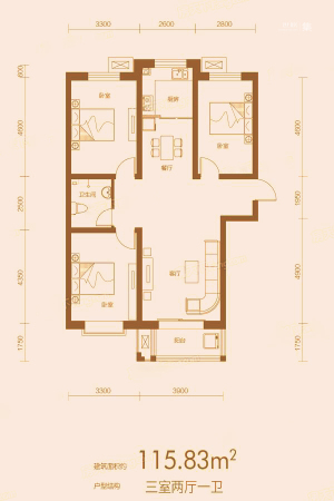 万合华府5#B户型-3室2厅1卫1厨建筑面积115.83平米