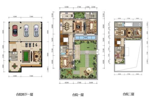 万科如园合院户型图-4室4厅5卫2厨建筑面积340.00平米