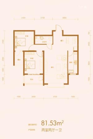万合华府8#B户型-2室2厅1卫1厨建筑面积81.53平米
