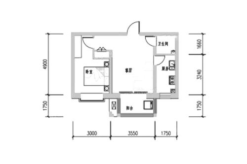 万合华府4#5#6#C户型-1室1厅1卫1厨建筑面积53.47平米