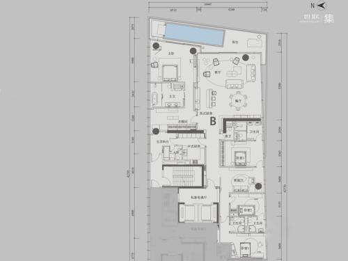 深圳湾1号T3奇数层B户型-4室3厅5卫1厨建筑面积436.00平米