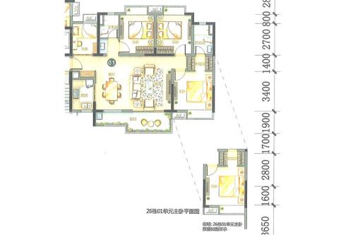 万科柏悦湾26、27幢01户型-4室2厅2卫1厨建筑面积123.00平米