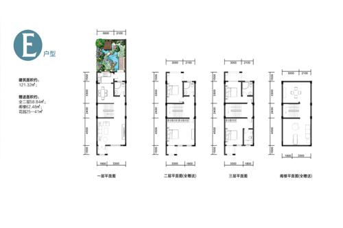 玉金山墅E户型-4室2厅4卫1厨建筑面积121.32平米