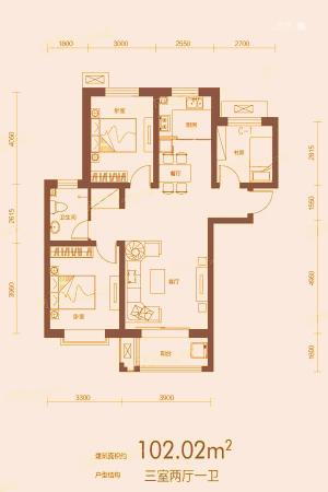 万合华府4#B1户型-3室2厅1卫1厨建筑面积102.02平米