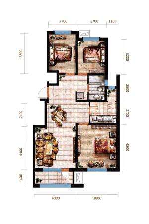 远洋戛纳小镇三期小高B1户型-3室2厅1卫1厨建筑面积103.00平米