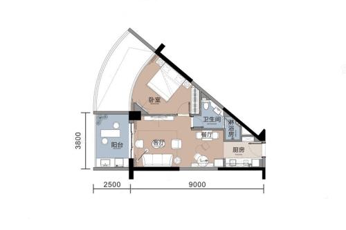 悦榕湾A1户型-1室1厅1卫1厨