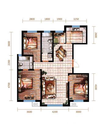 远洋戛纳小镇三期小高C2户型-3室2厅2卫1厨建筑面积128.00平米