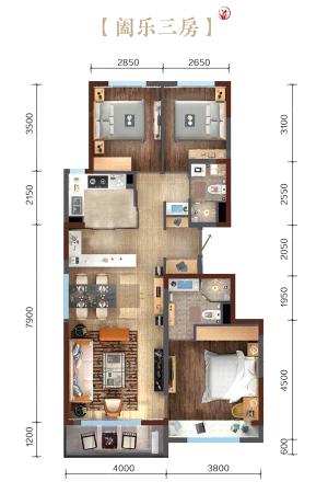 万科繁荣里阖乐三居A户型图-3室2厅2卫1厨建筑面积112.00平米