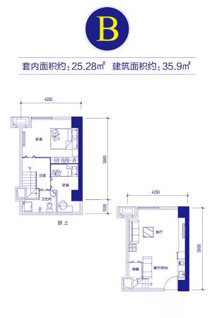 富邦金玖一期loft公寓标准层B户型-2室2厅1卫1厨建筑面积35.90平米