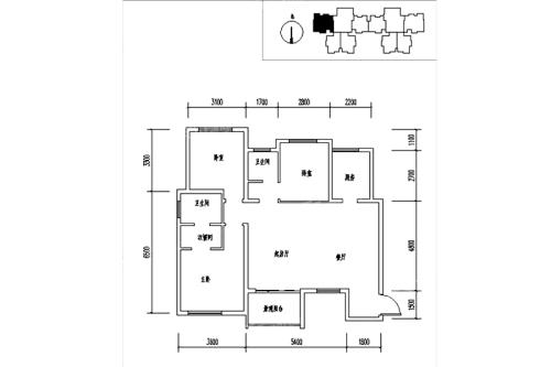 龙记玖玺31#C户型-3室2厅2卫1厨建筑面积121.00平米