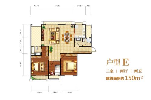 印象泰山户型E-3室2厅2卫1厨建筑面积150.00平米