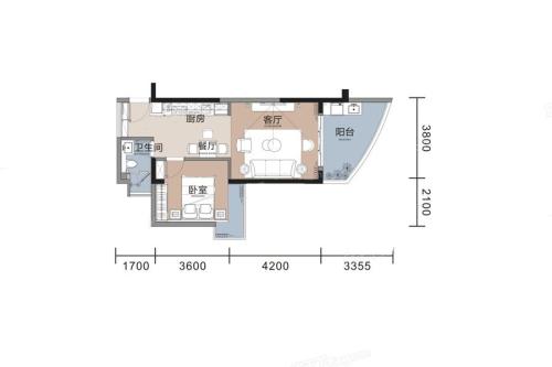 悦榕湾A2户型-1室1厅1卫1厨