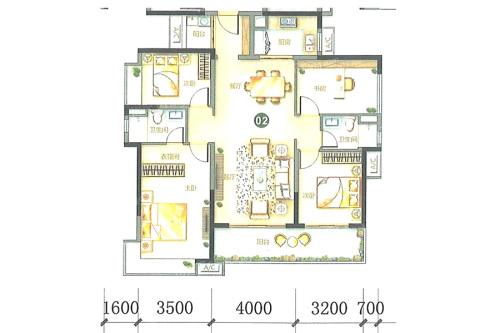 万科柏悦湾26、27幢02户型-4室2厅2卫1厨建筑面积138.00平米