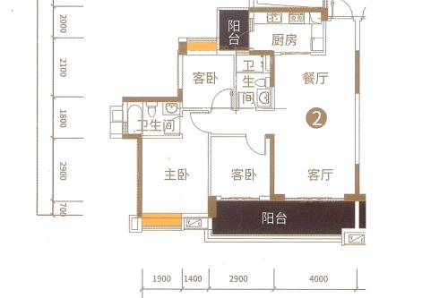 港航华庭4栋02户型-3室2厅2卫1厨建筑面积110.00平米