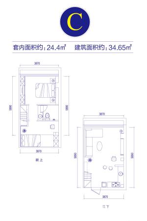 富邦金玖一期loft公寓标准层C户型-1室1厅1卫1厨建筑面积34.65平米