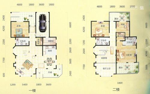桃花源墅7#楼B'户型-4室2厅3卫1厨建筑面积299.49平米