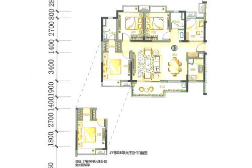 万科柏悦湾26、27幢03户型-26、27幢03户型-4室2厅2卫1厨建筑面积123.00平米
