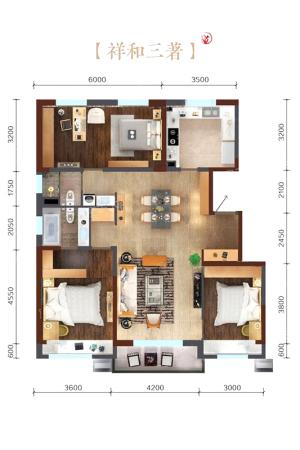 万科繁荣里祥和三居B户型图-3室2厅2卫1厨建筑面积135.00平米