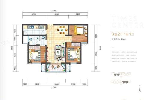 明丰阿基米德99平户型图-3室2厅1卫1厨建筑面积99.00平米
