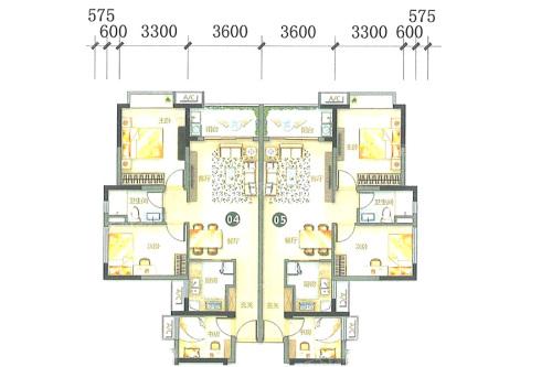 万科柏悦湾26、27幢04、05户型-3室2厅1卫1厨建筑面积86.00平米