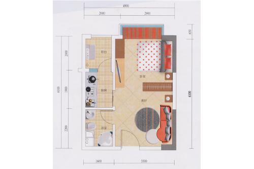 蓝钻寓见2栋B户型-1室1厅1卫1厨建筑面积40.00平米