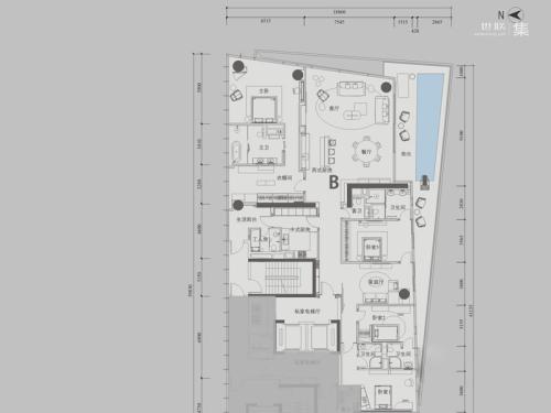 深圳湾1号T3偶数层B户型-4室3厅5卫2厨建筑面积431.00平米