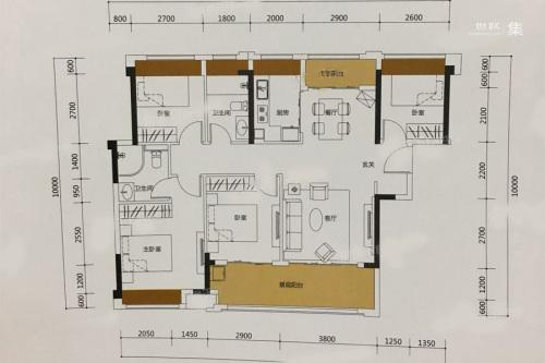 泰丰牧马湖A户型-4室2厅2卫1厨建筑面积115.00平米