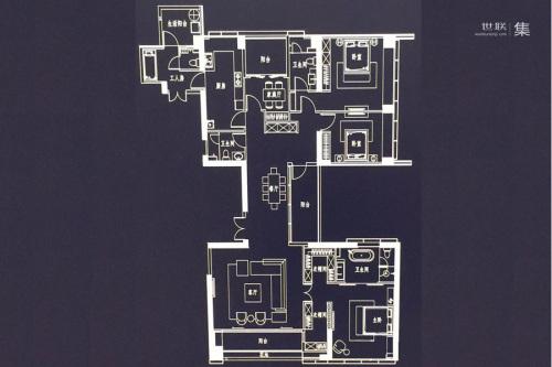 新天鹅堡B、C栋1502户型-3室3厅3卫1厨建筑面积300.00平米