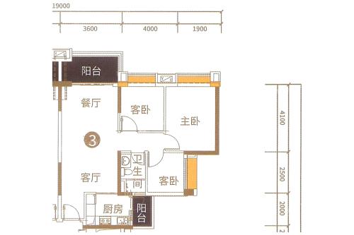 港航华庭4栋03户型-3室2厅1卫1厨建筑面积90.00平米