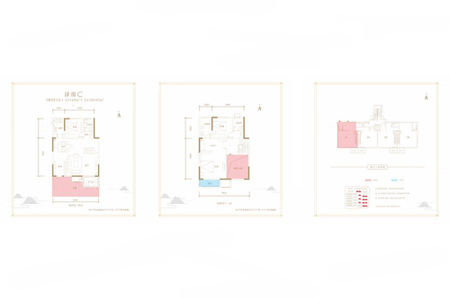 湖光山色洋房C户型底跃-3室2厅3卫1厨建筑面积143.00平米