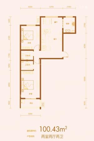 万合华府8#A户型-2室2厅2卫1厨建筑面积100.43平米
