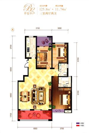 龙记玖玺26#平层中户-3室2厅2卫1厨建筑面积125.60平米