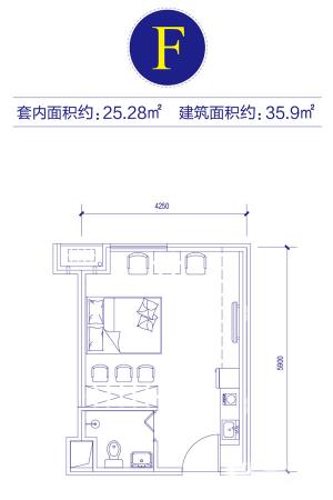富邦金玖一期裙房标准层F户型-1室0厅1卫1厨建筑面积35.90平米