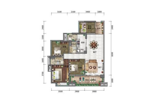 博达外滩B户型-3室2厅2卫1厨建筑面积114.00平米