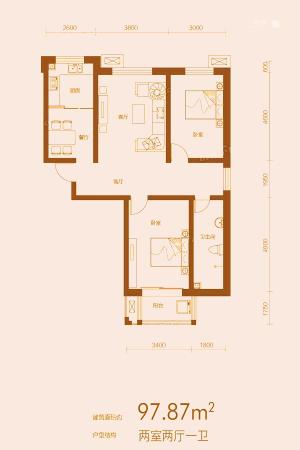 万合华府5#D户型-2室2厅1卫1厨建筑面积97.87平米