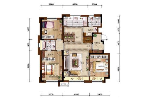 万科如园二期130平户型图-3室2厅2卫1厨建筑面积130.00平米