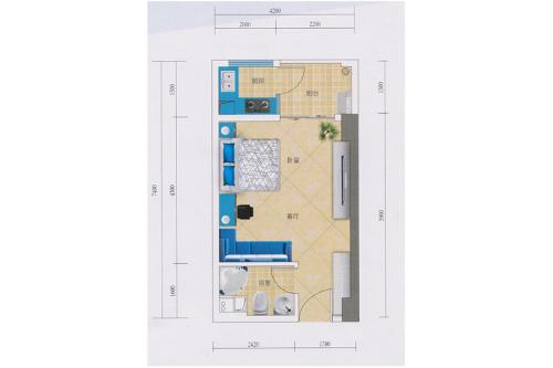 蓝钻寓见2栋A户型-1室1厅1卫1厨建筑面积38.00平米