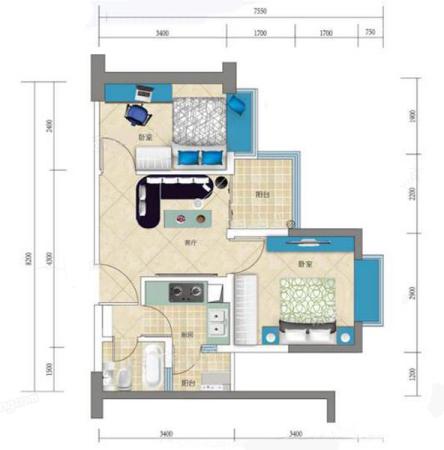 蓝钻寓见55㎡户型-2室1厅1卫1厨建筑面积55.00平米