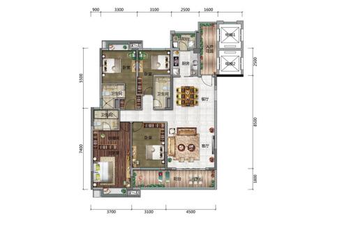 博达外滩C户型-4室2厅3卫1厨建筑面积155.00平米